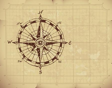 compas de dibujo: Mano br�jula Rosa de dibujado en el papel viejo.