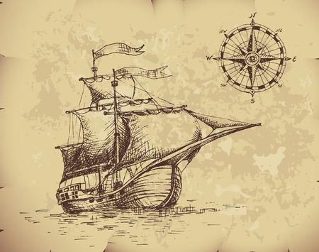 Ręcznie rysowane żaglówkę i kompas na starym papierze. Ilustracje wektorowe