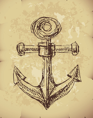 Hand drawn anchor on old paper. Illustration