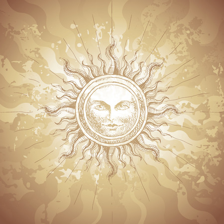 vellum: Old-fashioned sun decoration on grunge background.