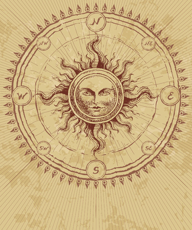 Compass rose with sun on grunge background. Eps8. CMYK. Organized by layers. Global colors. Gradients free.