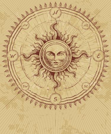 illustrazione sole: Rosa dei venti con il sole sullo sfondo del grunge. Eps8. CMYK. Organizzato da strati. Global colori. Sfumature gratuiti.