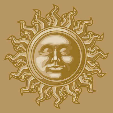 Old-fashioned sun decoration. Иллюстрация