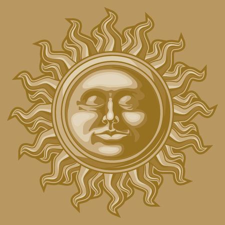 faced: Old-fashioned sun decoration. Illustration
