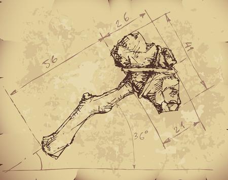 edad de piedra: Piedra proyecto hacha en el papel viejo.