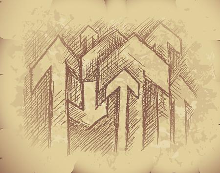 old grunge paper: Hand drawn arrows on old grunge paper. Illustration