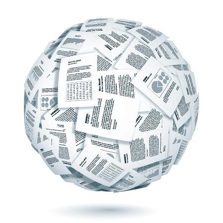 Grand groupe de documents formant la sphère. Eps10. Transparence utilisé. CMJN. Couleurs globales. Gradients utilisés. Banque d'images - 32996670