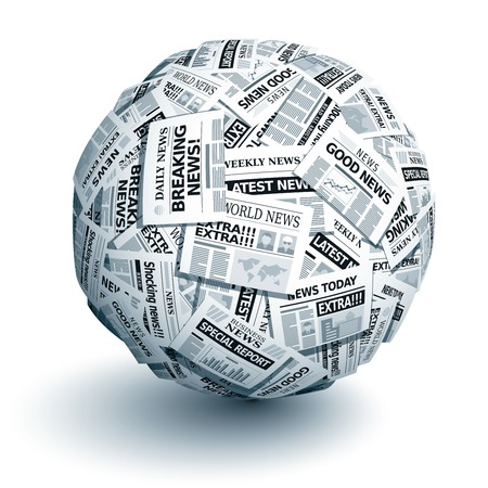 printed media: Vector ball of newspapers. Eps10. Transparency used. CMYK. Global colors. Gradients used. Illustration