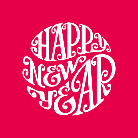 Hand drawn phrase Happy New Year inscribed in a circle. Eps8. RGB. Organized by layers. Gradients free Vector
