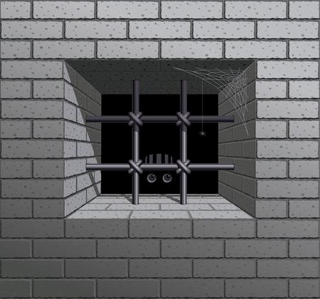 Fenêtre à barreaux dans le mur de briques. Eps8. CMJN. Organisé par couches. Couleurs globales. Gradients utilisés. Banque d'images - 33113578
