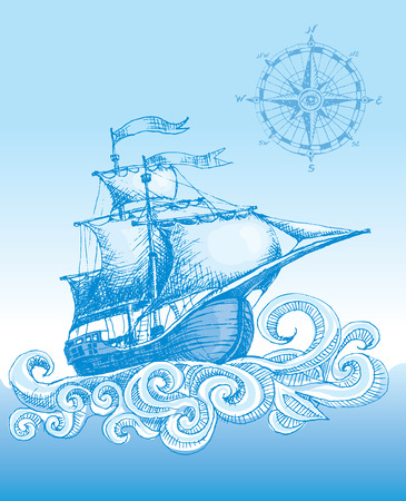 Hand drawn sailboat and compass. Eps8. CMYK. Organized by layers. Global colors. Gradients used. Vector
