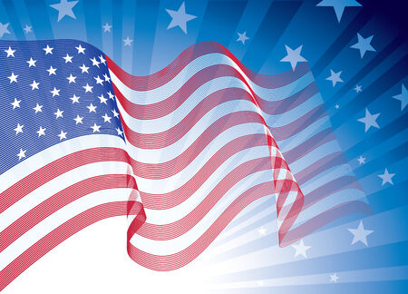 US flag, blowing in the wind. Eps8. CMYK. Organized by layers. Global colors. Gradients used. Vector