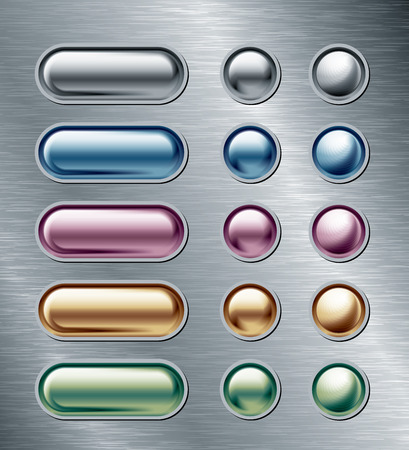 web 2 0: Set of color buttons on metal plate. Eps8. CMYK. Global colors. Organized by layers. Gradients used. Illustration