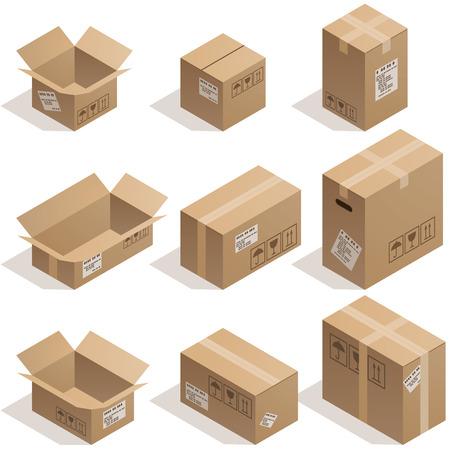 Ensemble de neuf boîtes de carton isométriques isolé sur blanc. Eps8. CMJN. Organisé par couches. Couleurs globales. Dégradés utilisés.