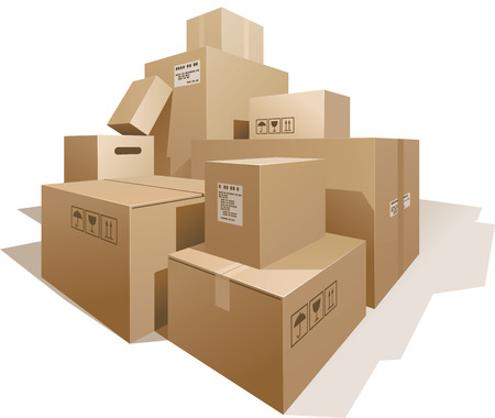 packing supplies: Stack of boxes isolated on white. Eps8. CMYK. Organized by layers. Global colors. Gradients used.