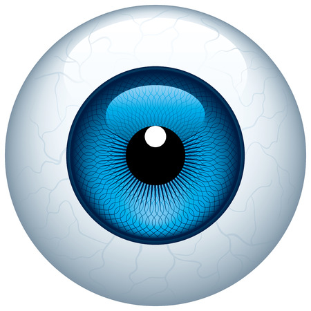 cornea: Blue eyeball isolated on white. Eps8. CMYK. Organized by layers. Global colors. Gradients used.