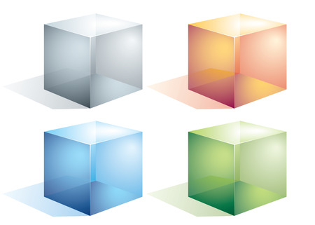 looking through an object: Four colored transparent cubes isolated on white.