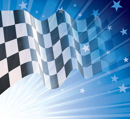 sidecar motocross racing: Checkered flag, blowing in the wind.