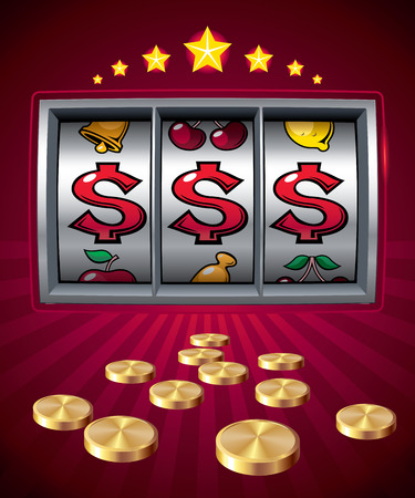 one us dollar coin: Slot machine with dollar signs..