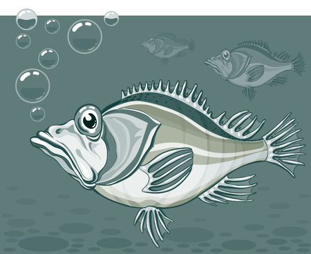 Cartoon fish. Eps8. CMYK. Global colors. Gradients free. Vector