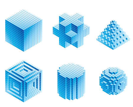 Set of geometric objects on white backgrounds. Eps8. CMYK. Organized by layers. Global colors. Gradients used. Vector
