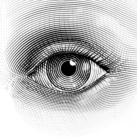 Vector human eye in engraved style. Eps8. CMYK. Organized by layers. One global color. Gradients free. Stock Illustratie