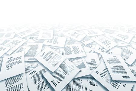 Gros tas de différents documents papier. Eps10. Transparence utilisé. CMJN. Couleur globale. Gradients utilisés.