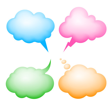thinking bubble: Four vector speech bubbles. Eps8. RGB. Global colors. Gradients used.
