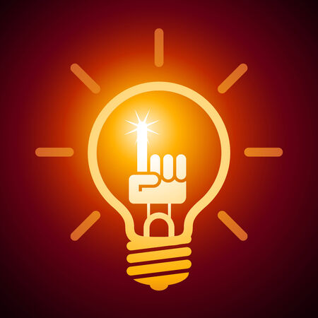 cartoon light bulb: Light bulb with hand with a raised index finger. Eps8. RGB. Organized by layers. Global colors. Gradients used.
