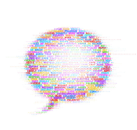 Speech bubble concept in word cloud. Eps8. RGB. Global colors. Gradients free. Vector