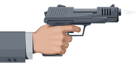 hand gun: Shooting handgun. Eps8. CMYK. Organized by layers. Hand and gun separated. Gradients free. Three global colors. Illustration