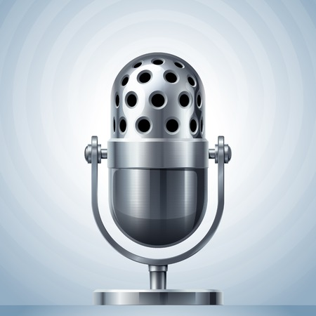 cardioid: Micrófono de metal. Eps10. Transparencia utilizada. RGB. Mundial de colores. Gradientes utilizado