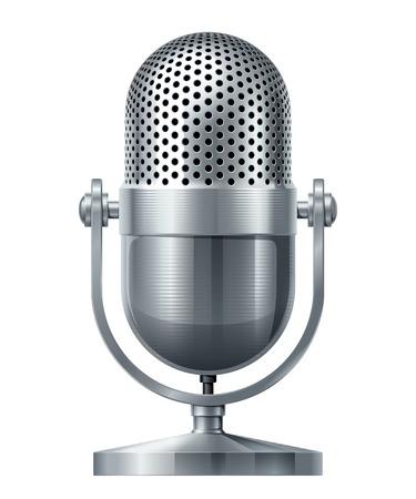 microfono antiguo: Micrófono de metal. Eps10. Transparencia utiliza. RGB. Mundial de colores. Los degradados utilizados