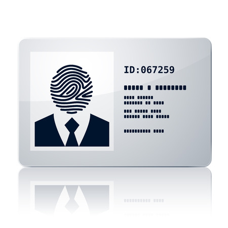 id card: Vector ID card with fingerprint. Eps8. RGB. One global color. Organized by layers. Gradients used. Illustration