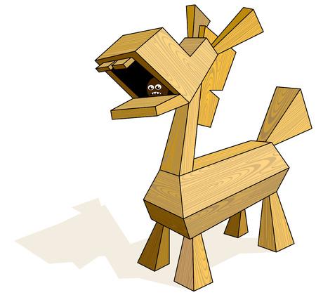 cavallo di troia: Legno Trojan Horse. Eps8. CMYK. Organizzato da strati. Quattro colori globali. Sfumature gratuiti. Vettoriali