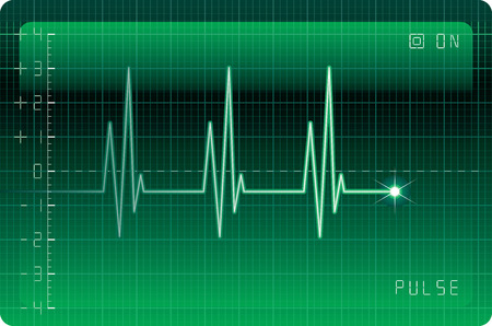 taking pulse: Electrocardiogram monitor. Eps8. CMYK. Organized by layers. Two global colors. Gradients used.