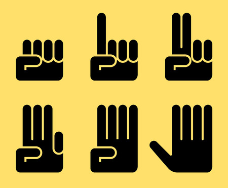 one finger: Six silhouette of zero, one, two, three, four and five hand signs. Eps8. CMYK. Gradients free.
