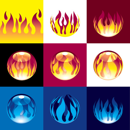 bunsen burner: Horizontal seamless pattern of flame. Different fireballs and flames. Eps8. CMYK. Organized by layers. Global colors. Gradients used.