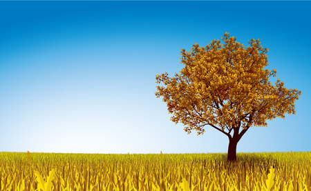 photo realism: Lonely autumn tree on field. Eps8. CMYK. Organized by layers. Gradient used on sky.
