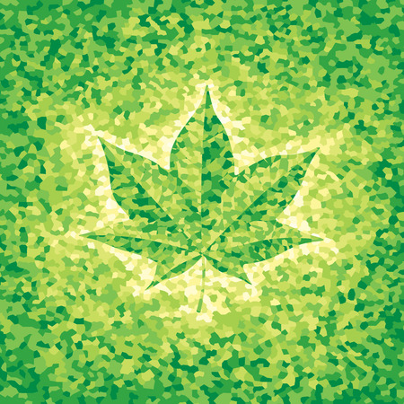 changing seasons: Green mosaic background with maple leaf. CMYK. Organized by layers. Global colors. Gradients free.