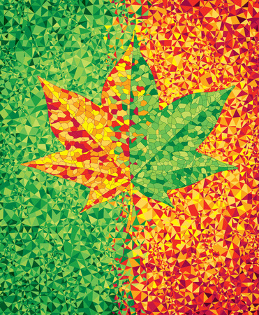 fall images: Green and red mosaic background with maple leaf. CMYK. Organized by layers. Global colors. Gradients free. Illustration