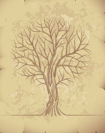 Bare tree painted on the old paper. Eps8. CMYK. Organized by layers. Global colors. Gradients used. Vector