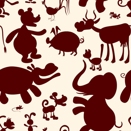 back lit: Seamless pattern of stylized animals. Eps8. CMYK. Gradients free. Global colors. Illustration