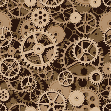gearings: Gold gears. Seamless background. Eps8. CMYK. Organized by layers. Global colors. Gradients free