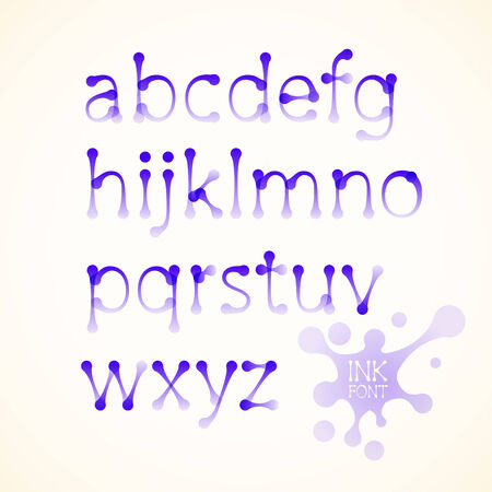 Vector ink drawn lowercase alphabet. Eps10. Transparency used. RGB. Global colors. Gradients used