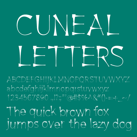 cuneiform: Vector cuneal letters and numbers. Eps8. RGB. Global color. Gradients free