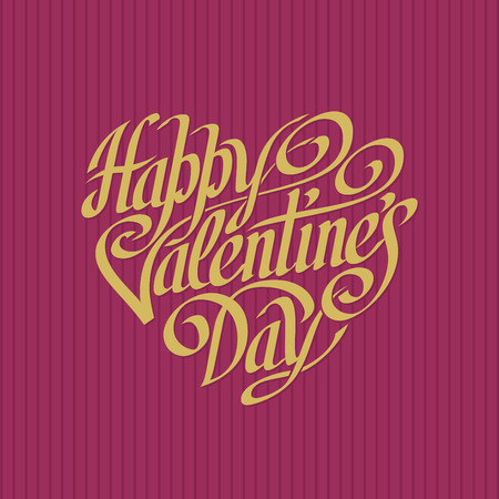 Hand drawn phrase Happy Valentines Day inscribed in a heart shape. Eps8. RGB. Organized by layers. Gradients free Vector