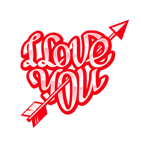 eps8: Hand drawn phrase I Love You inscribed in a heart shape. Eps8. RGB. Organized by layers. Gradients free. Illustration
