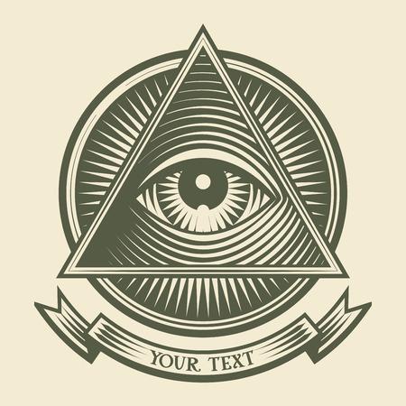 pyramide humaine: Vecteur oeil humain grav� au style.Organized par des couches. Une couleur mondiale. D�grad�s gratuits
