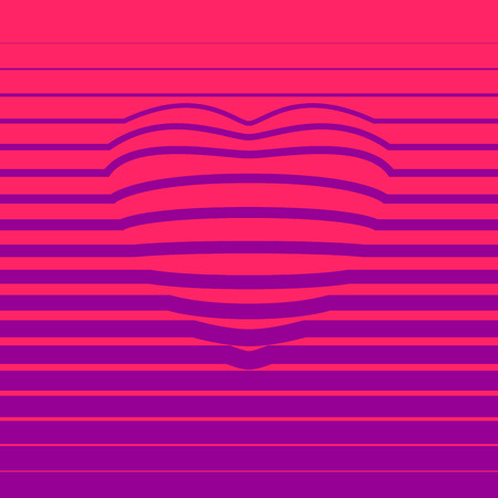 eps8: Red striped heart shape. Eps8. RGB. Global color. Gradients free